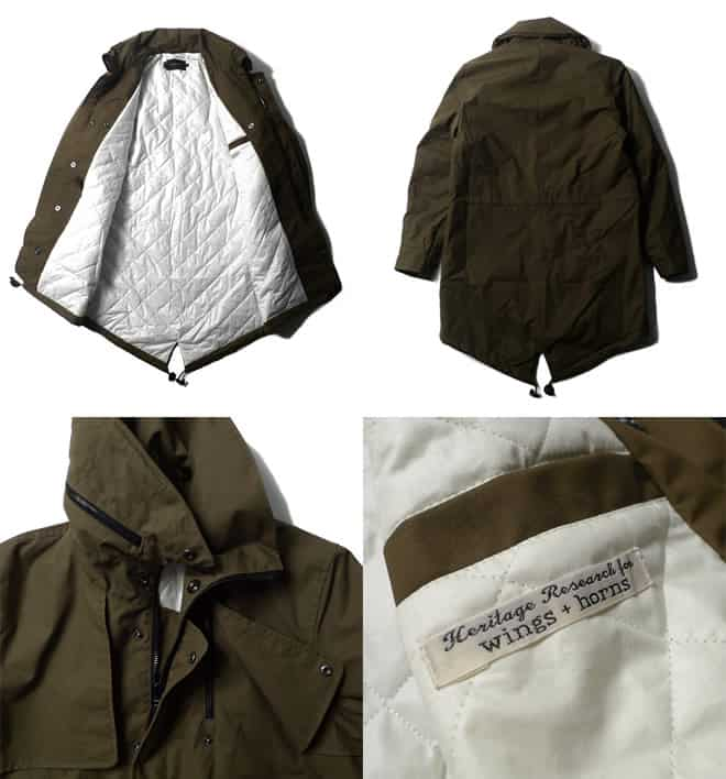 Heritage Research x Wings + Horns Fall 2011 green fish tail parka details
