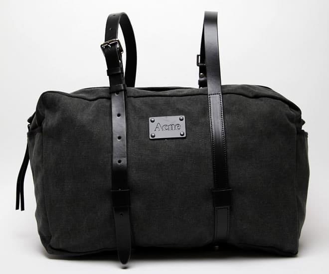 Acne Jeans Everest Bag Canvas / Black Cowhide Front