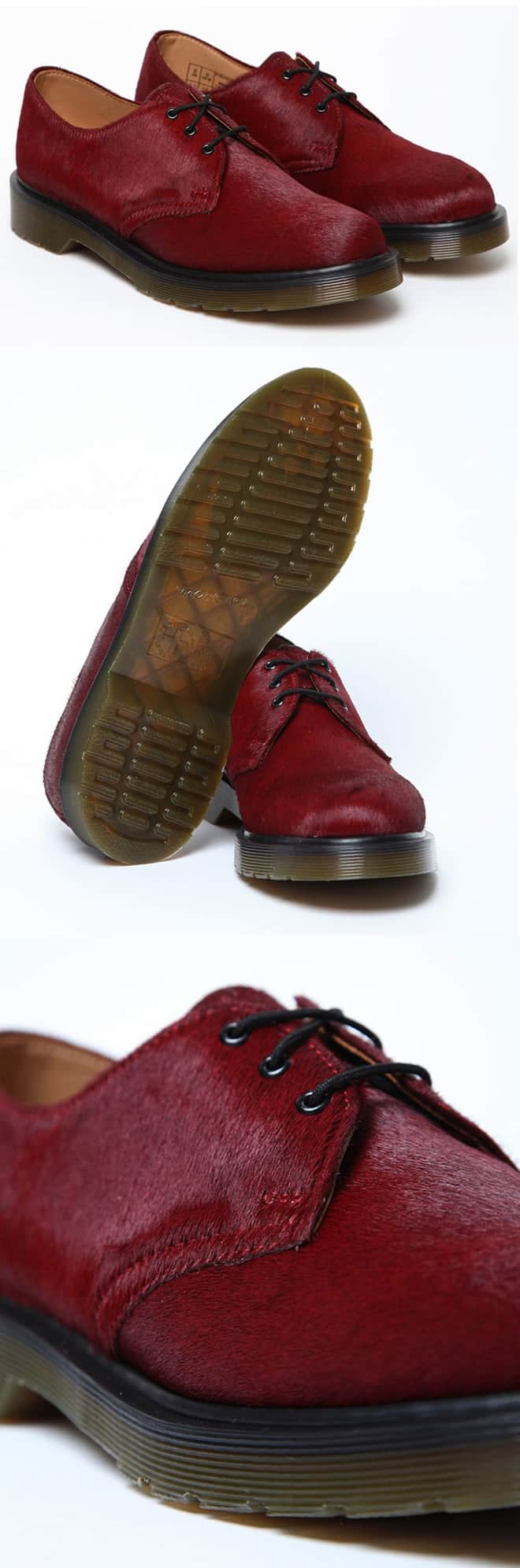 Dr Martens Hair on Horsey 3 Eye Derby Shoe Red