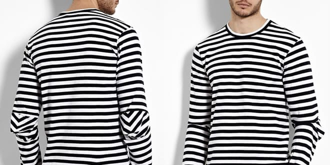 COMME des GARÇONS SHIRT Navy Stripe Elbow Insert Long Sleeve T-shirt
