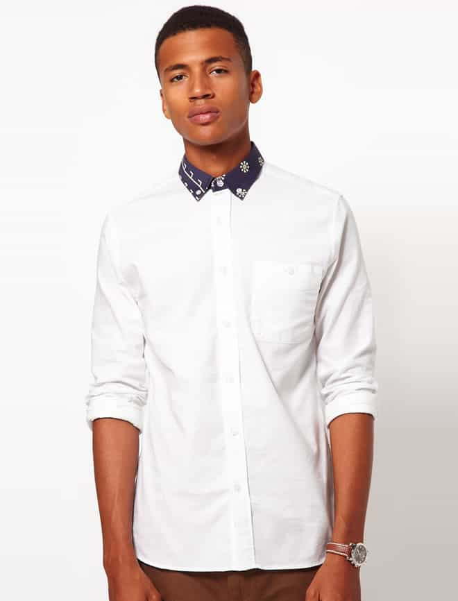 ASOS Oxford Shirt With Print Collar
