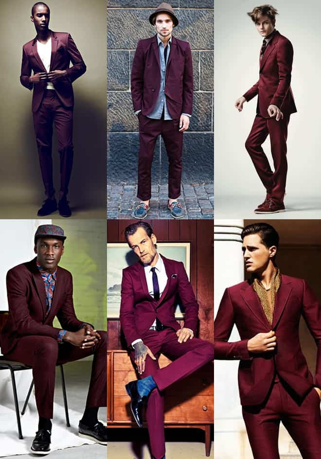 Men's Burgundy Suit Lookbook