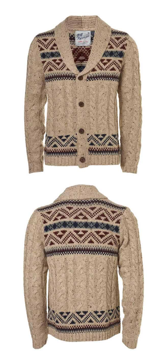 Topman - Cream Yoke Pattern Cable Knit Cardigan