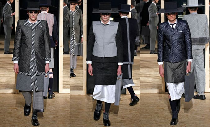 Thom Browne Quilted Jackets On AW13 Collection Runway
