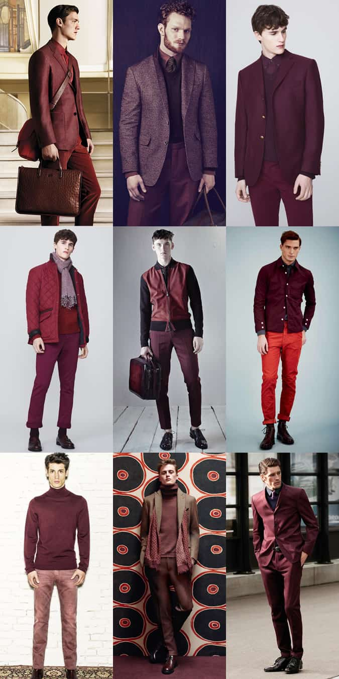 Men's Red Tonal Outfits Lookbook Inspiration