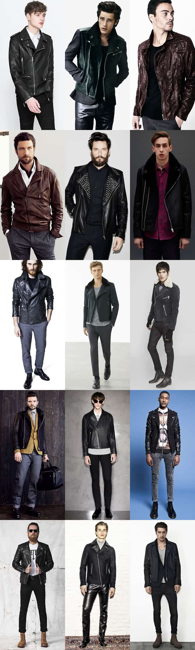 Men's Leather Biker Jacket Outfit Inspiration Lookbook