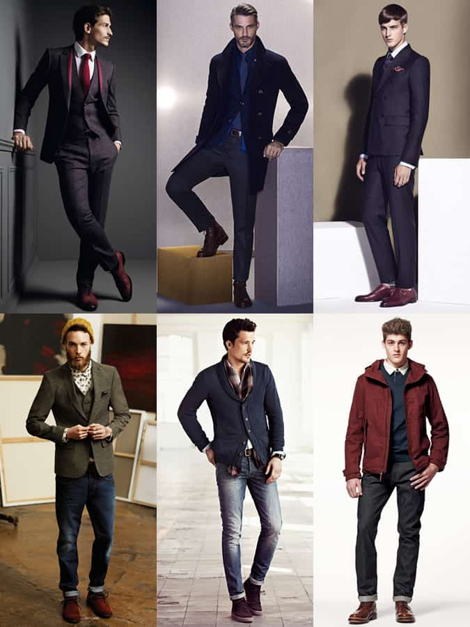 Men's Burgundy Footwear Outfit Inspiration Lookbook
