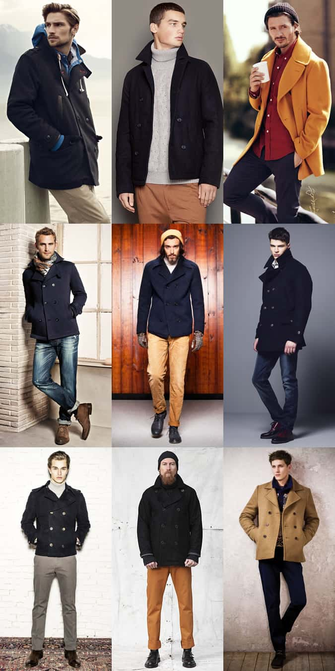 Men's Pea Coats Outfit Inspiration Lookbook