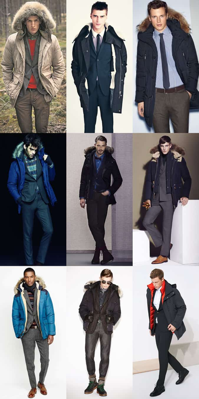 Men's Formal and Smart-Casual Parka Outfit Inspiration Lookbook