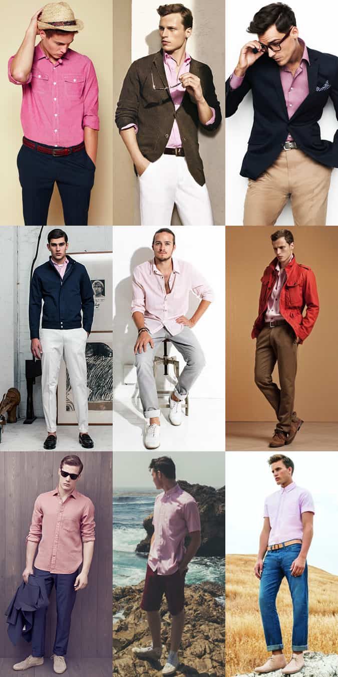 Men's Pink Shirt Outfit Inspiration Lookbook