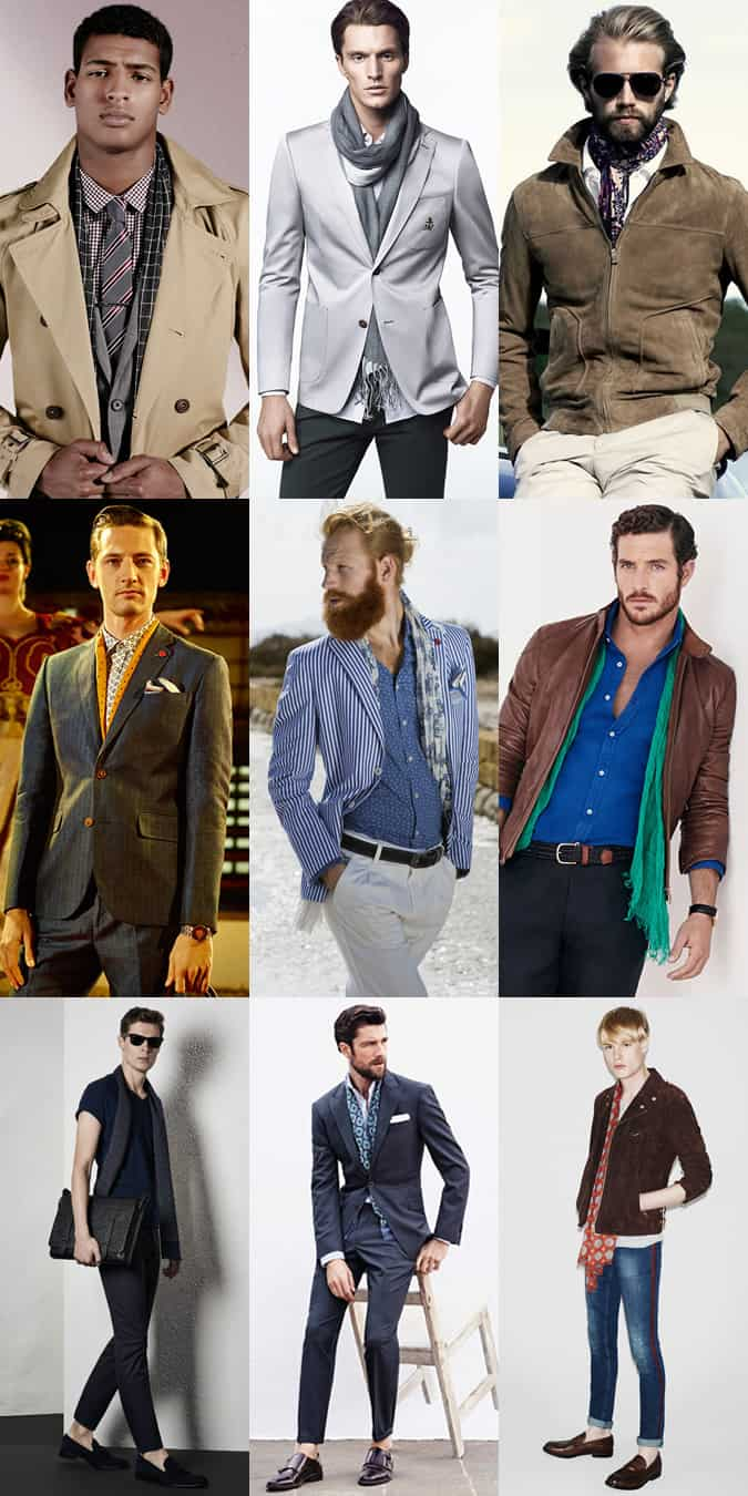 Men's Spring Lightweight Scarves Outfit Inspiration Lookbook