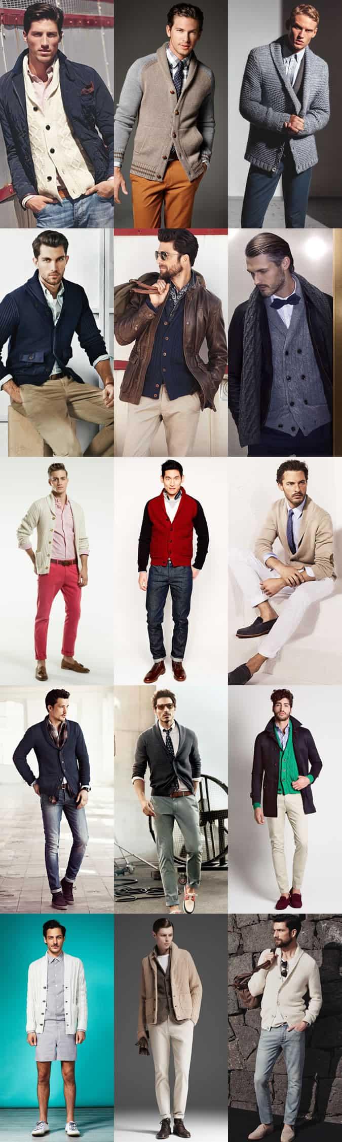 Men's Shawl Neck Cardigan Outfit Inspiration Lookbook