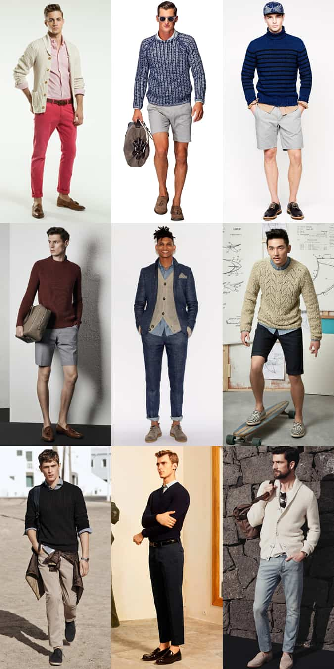 Wearing Men's Winter Knitwear In Spring/Summer - Outfit Lookbook Inspiration