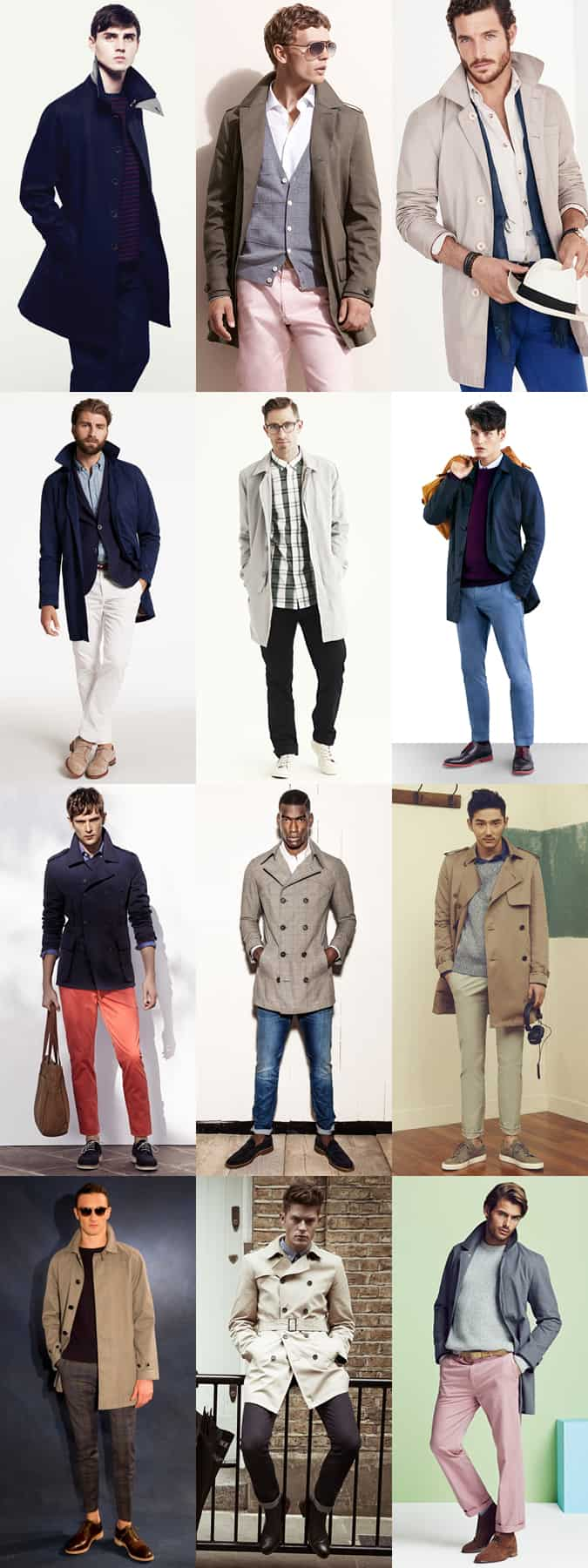 Men's Long Length, Lightweight Mac/Trench Outfit Inspiration Lookbook - Transitional Season