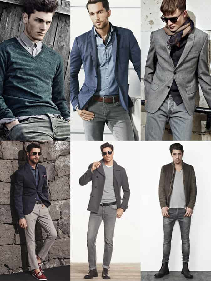 Men's Grey Jeans Outfit Inspiration Lookbook