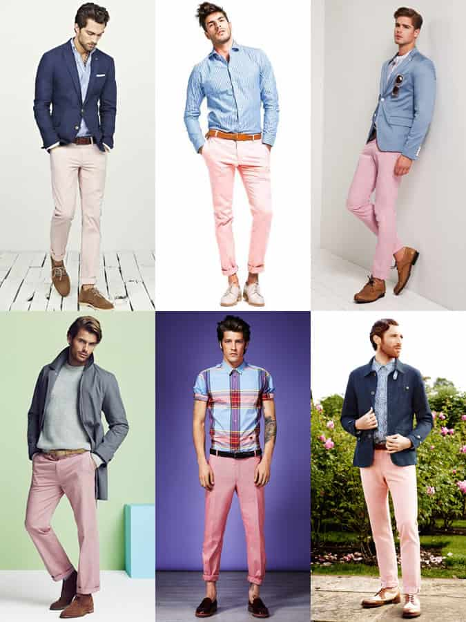 Men's Pink Chinos Outfit Inspiration Lookbook