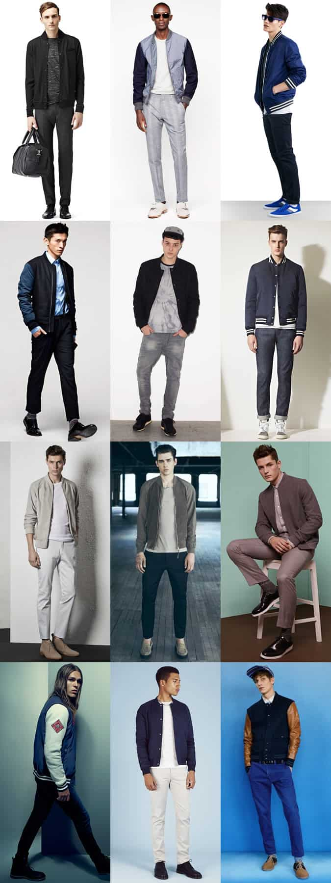 Men's Varsity/Baseball Jacket Outfit Inspiration - Sports Luxe-Inspired Lookbook