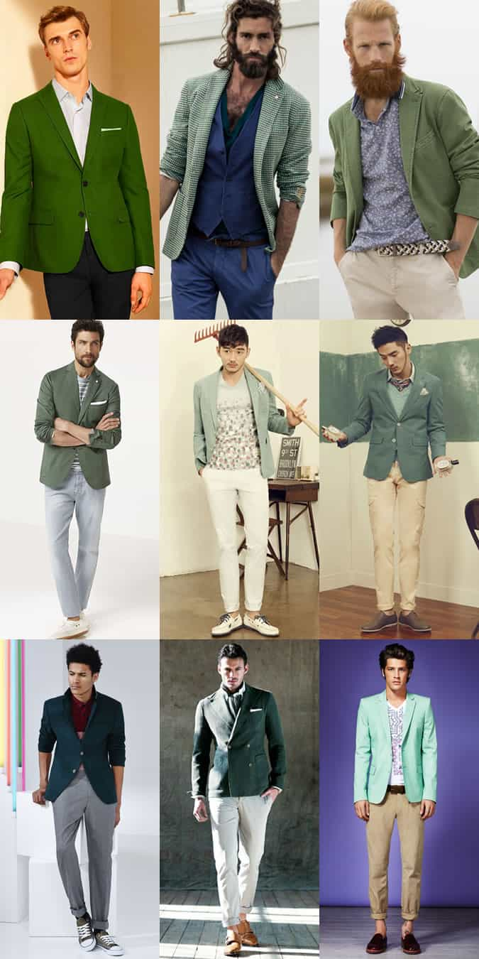 Men's Green Blazer Spring/Summer Outfit Inspiration Lookbook