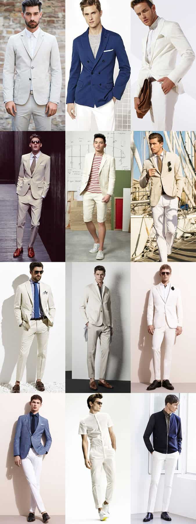 Men's Neutral Cotton Suits and Separates Outfit Lookbook Inspiration