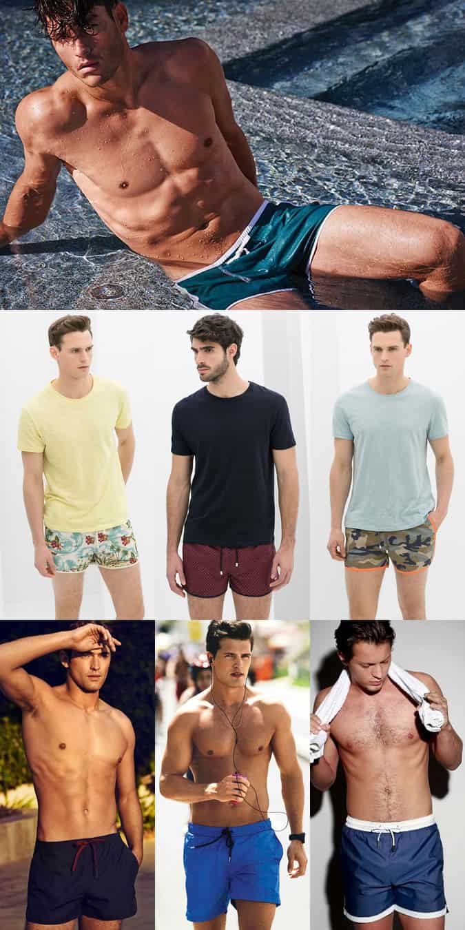Men's Cropped Nylon Swim Shorts Lookbook