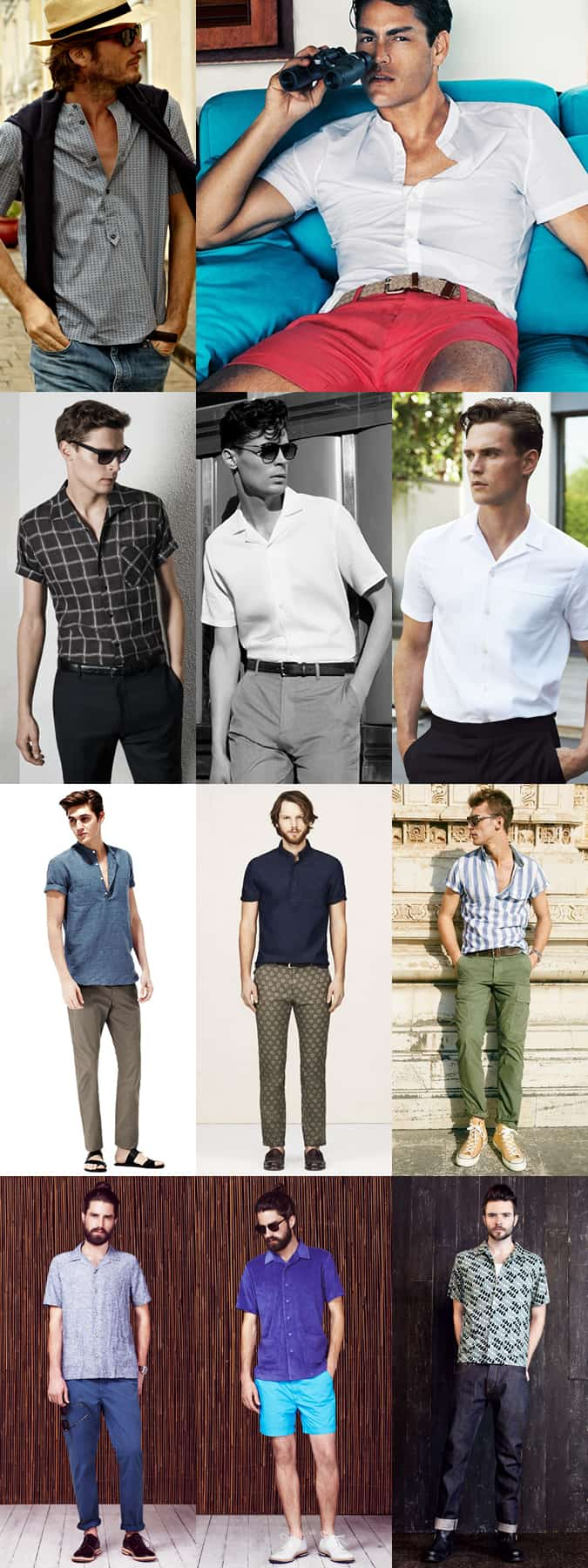 Men's Short Sleeve Shirts - Band/Cuban/Granddad Collars, Popover Styles and Contrast Sleeves - Summer Outfit Inspiration Lookbook
