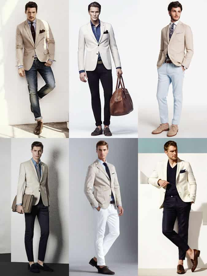 Men's Beige Cotton Suit Separates Outfit Inspiration Lookbook