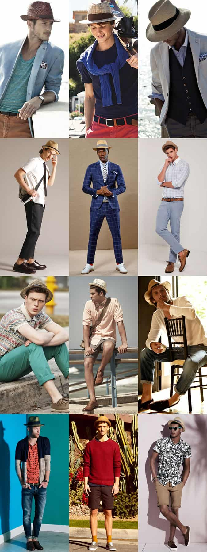 Men's Straw Fedora Summer Outfit Inspiration Lookbook