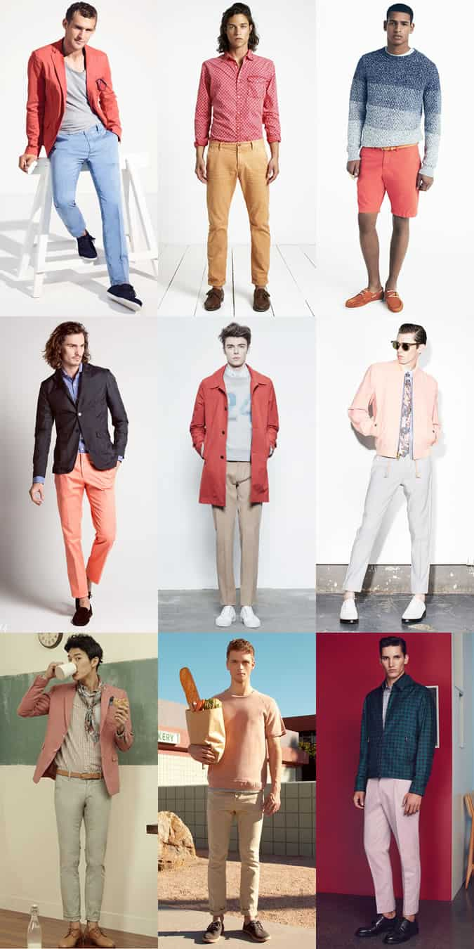 Men's Coral/Peach/Pink Garments - Summer Outfit Inspiration Lookbook