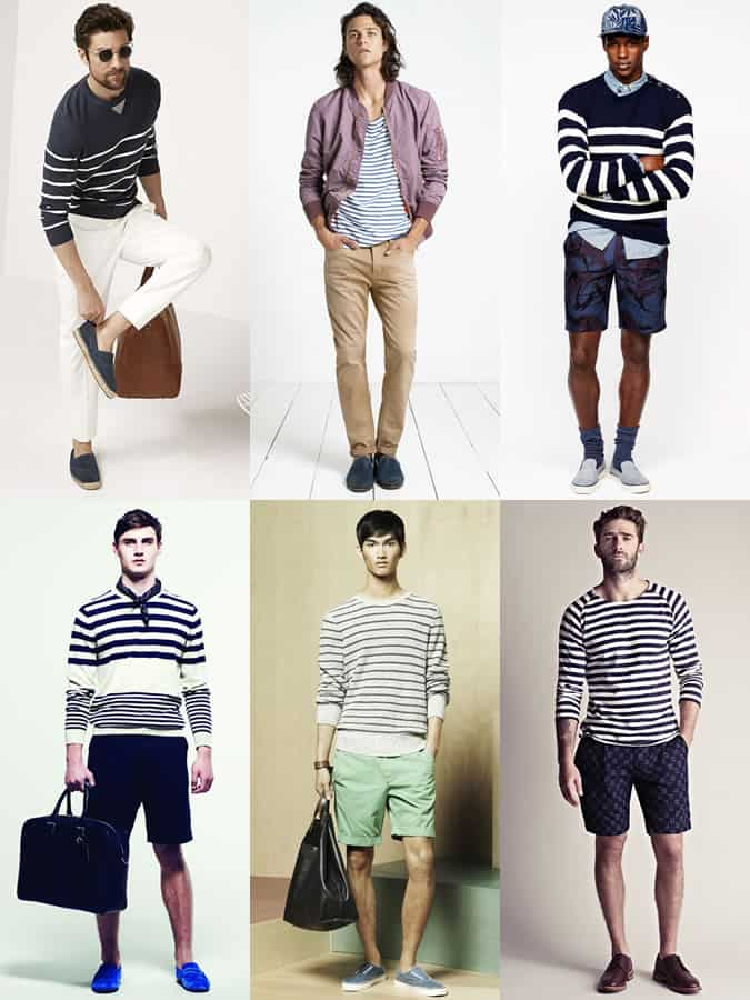 Men's Long-Sleeved Breton Striped Top Summer Holiday Outfit Inspiration Lookbook