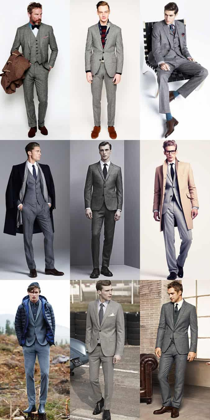 Men's Grey Flannel Suit Outfit Inspiration Lookbook