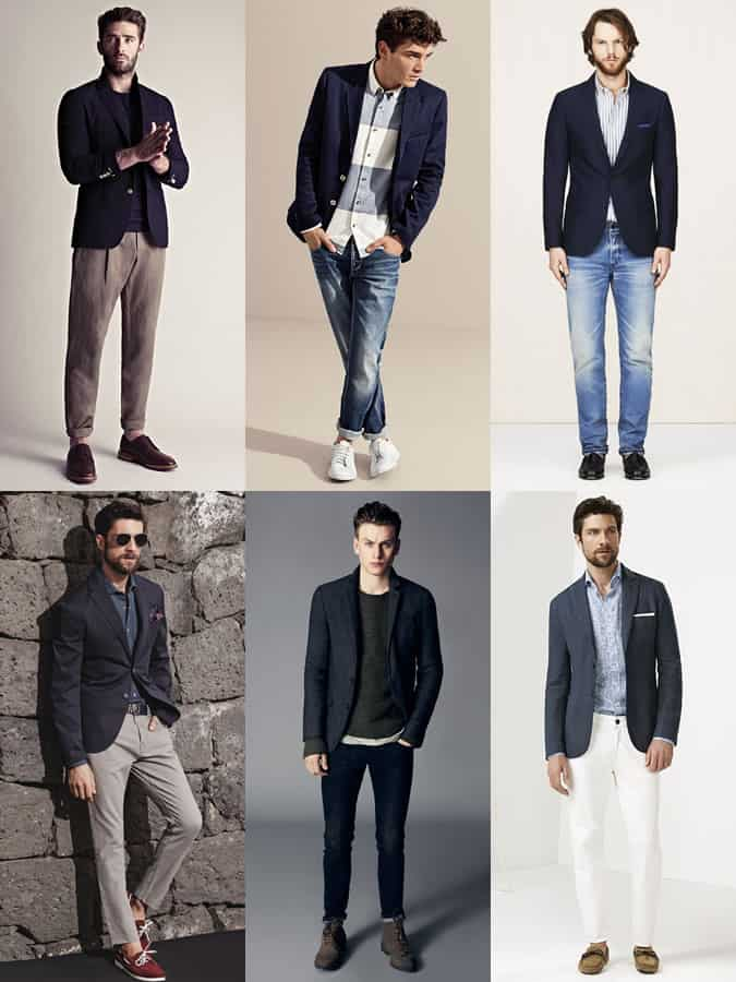 Navy Blazer - Layered Over Multiple Outfits - Men's Lookbook Inspiration