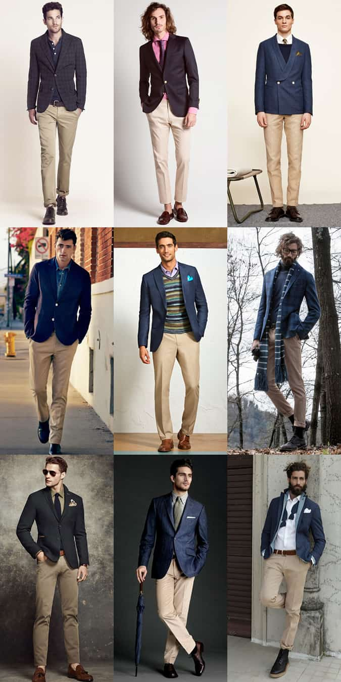 Men's Navy Jacket and Beige/Khaki Trouser Separates - Outfit Inspiration Lookbook