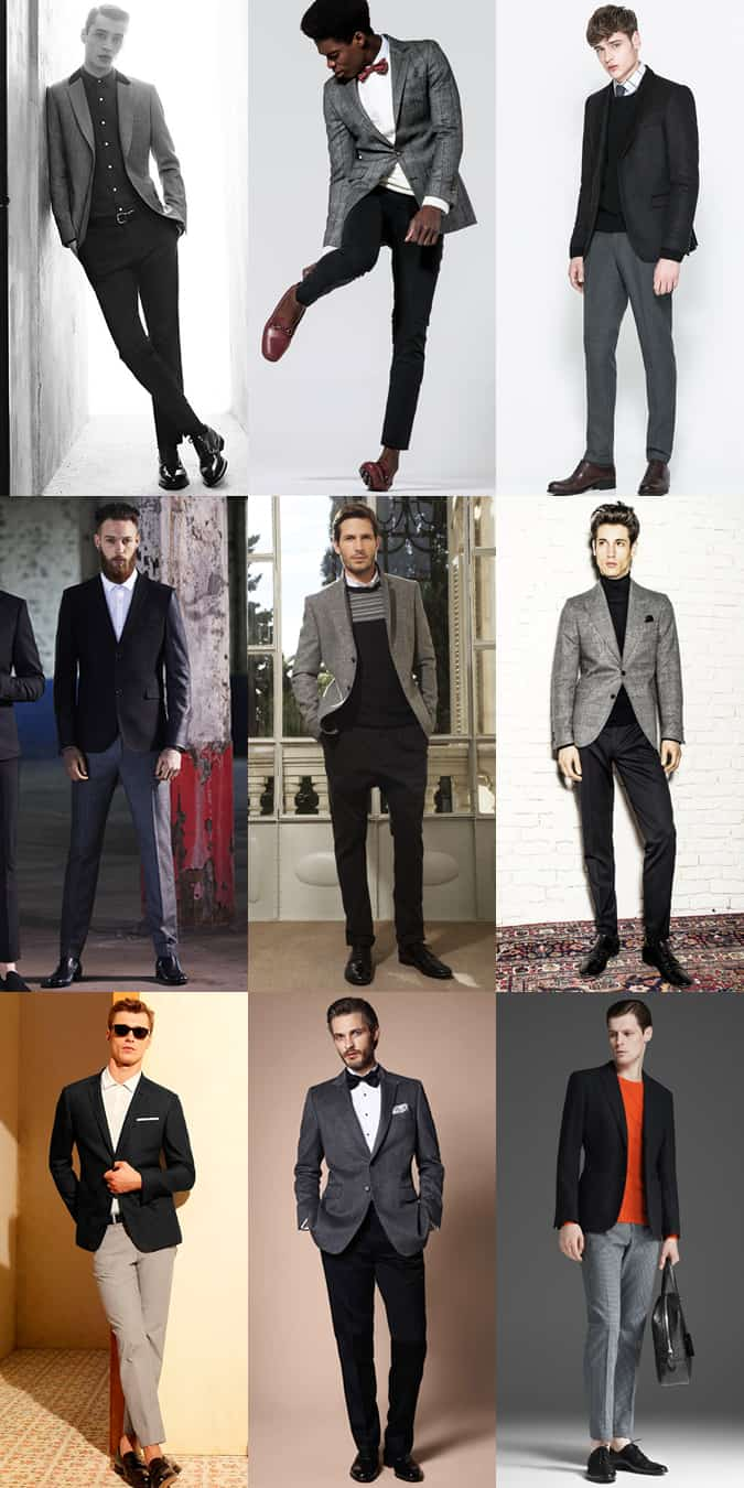 Men's Grey, Black and Charcoal Blazer/Trouser Combinations - Separates - Outfit Inspiration Lookbook