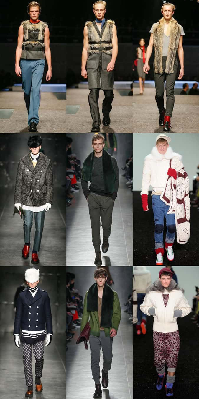 Fur Accessories On The AW14 Menswear Runways