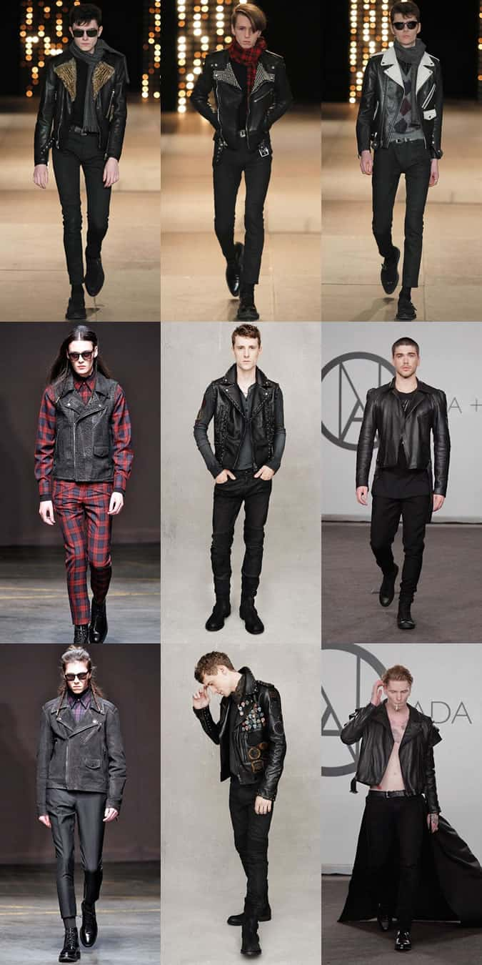 Men's Leather Biker Jackets On the AW14/SS15 Menswear Runways