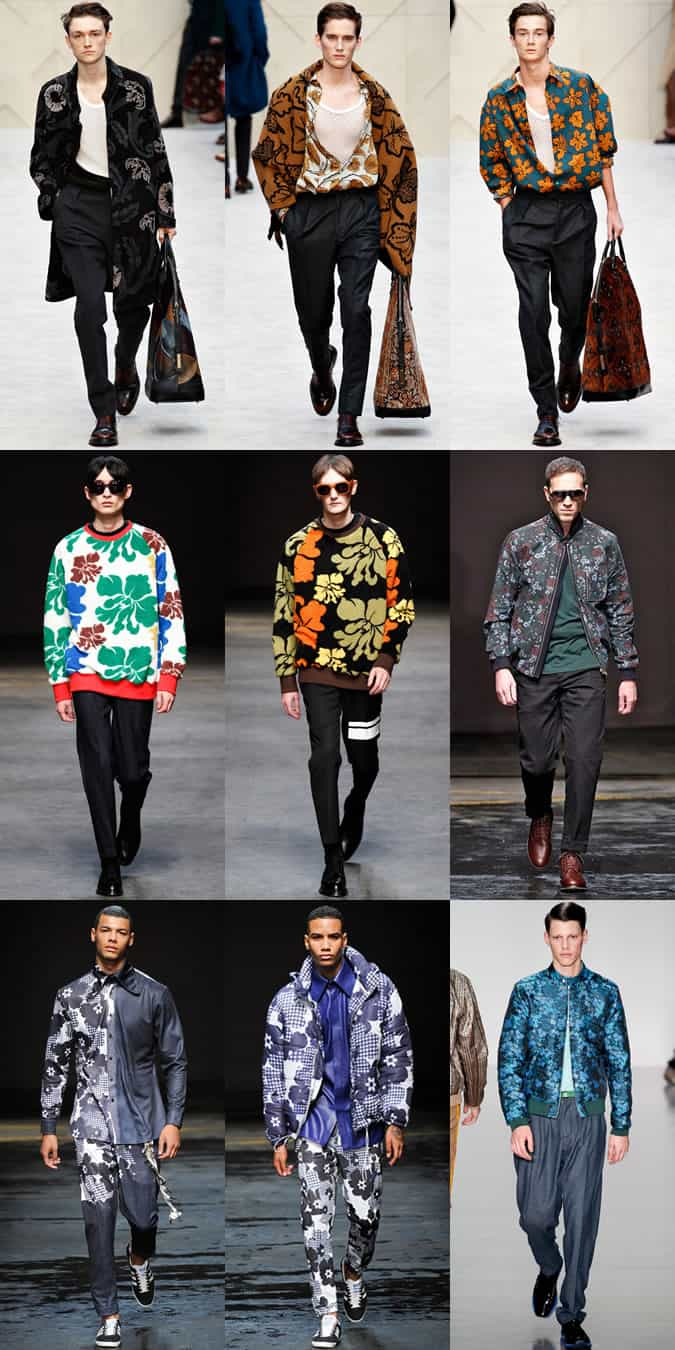 Men's Floral Prints On AW14 London Collections: Men Runways