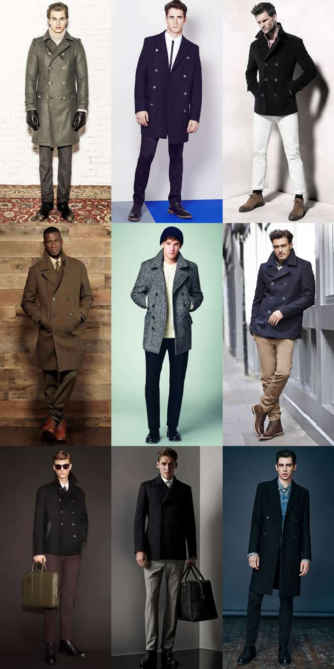 Men's Pea/Officer Coat Outfit Inspiration Lookbook