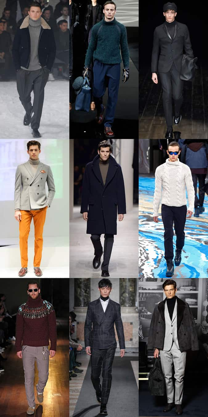 Men's Roll/Turtle/Polo Neck Jumpers On The Autumn/Winter 2014 Runways