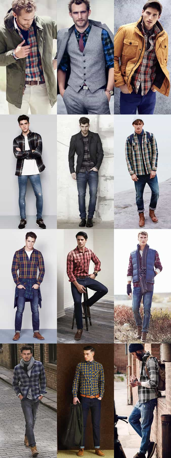 Men's Check and Tartan Shirts Outfit Inspiration Lookbook
