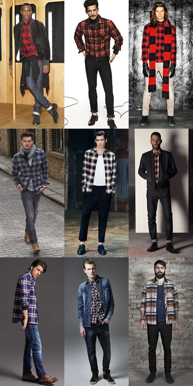 Men's Checked Flannel Shirts Outfit Inspiration Lookbook