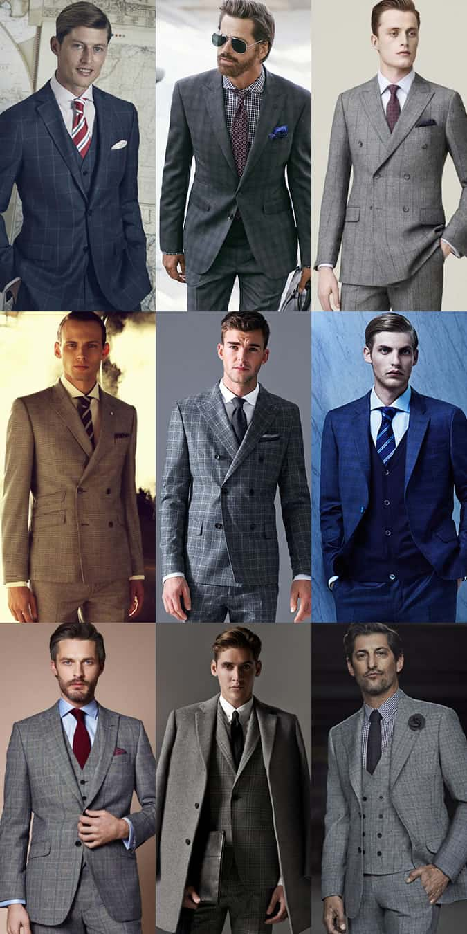 Men's Checked Suits Outfit Inspiration Lookbook