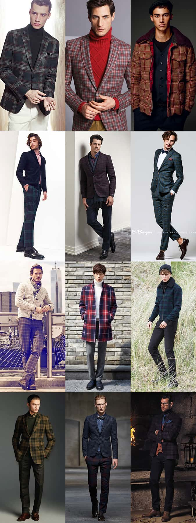 Men's Tartan, Plaid and Check Winter Clothing Outfit Inspiration Lookbook