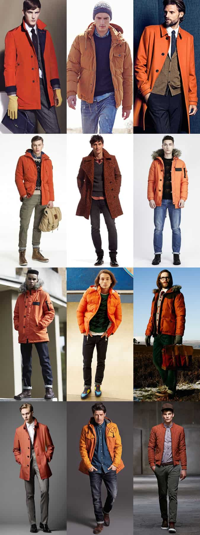 Men's Orange Outerwear/Coats/Jackets - Outfit Inspiration Lookbook