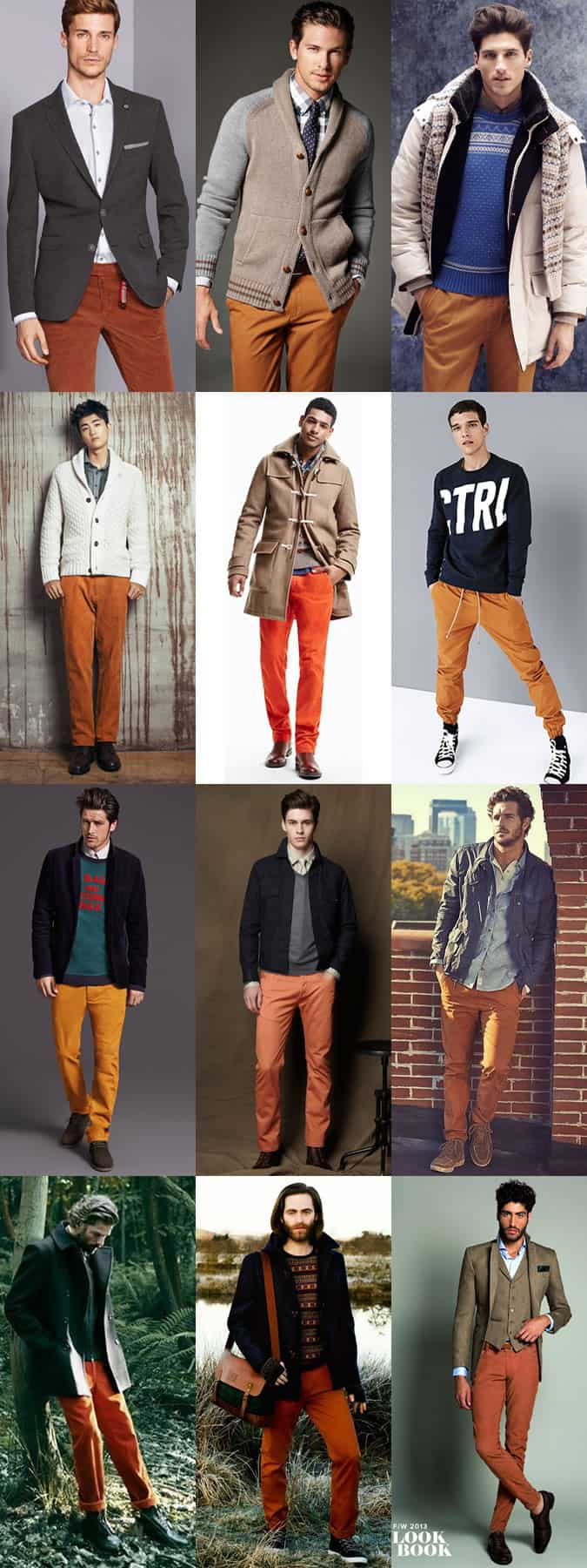 Men's Orange Trousers/Chinos - Outfit Inspiration Lookbook