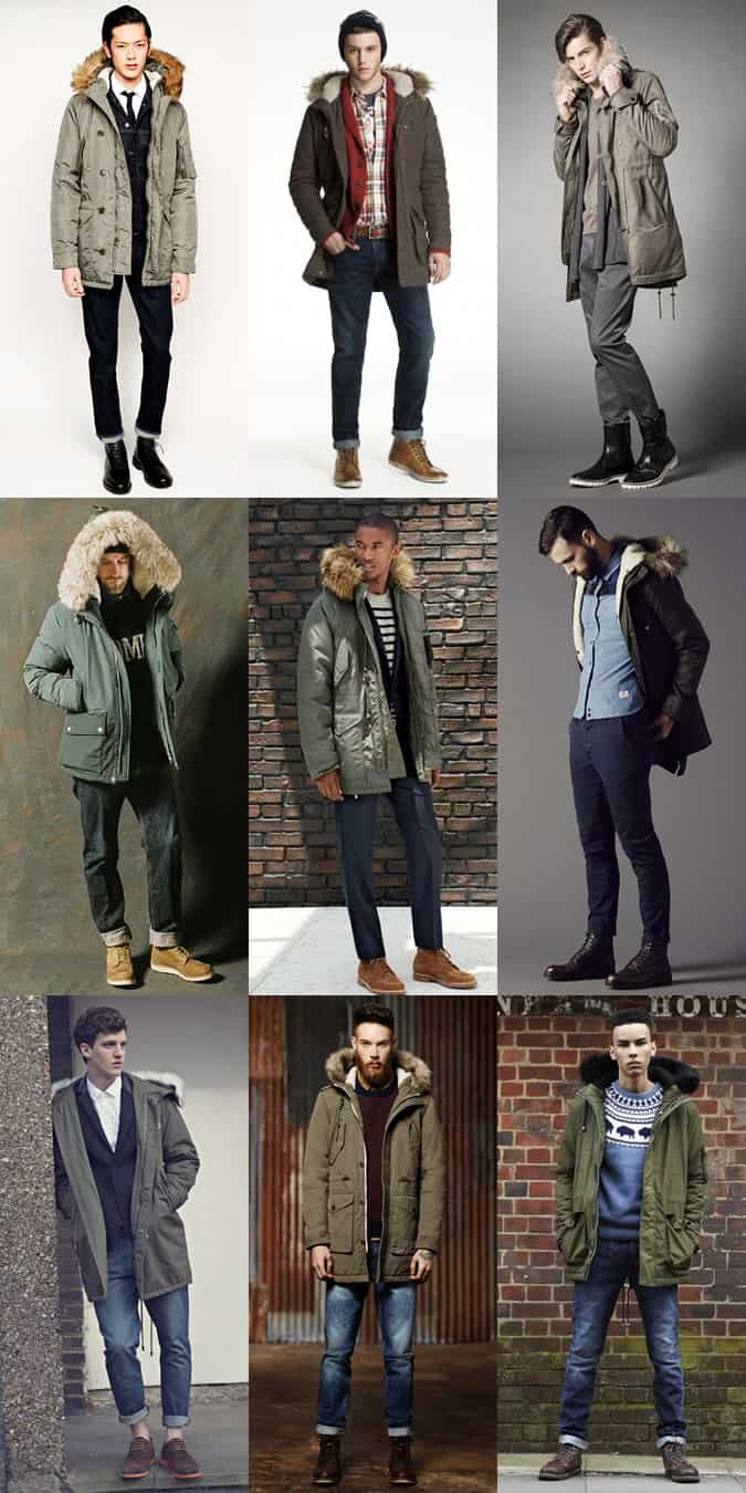 Men's Classic Olive Parkas Outfit Inspiration Lookbook