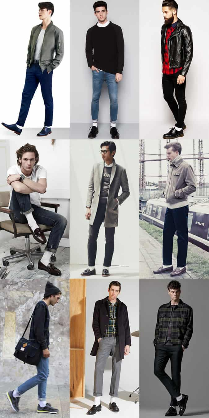 Men's White Socks Outfit Inspiration Lookbook