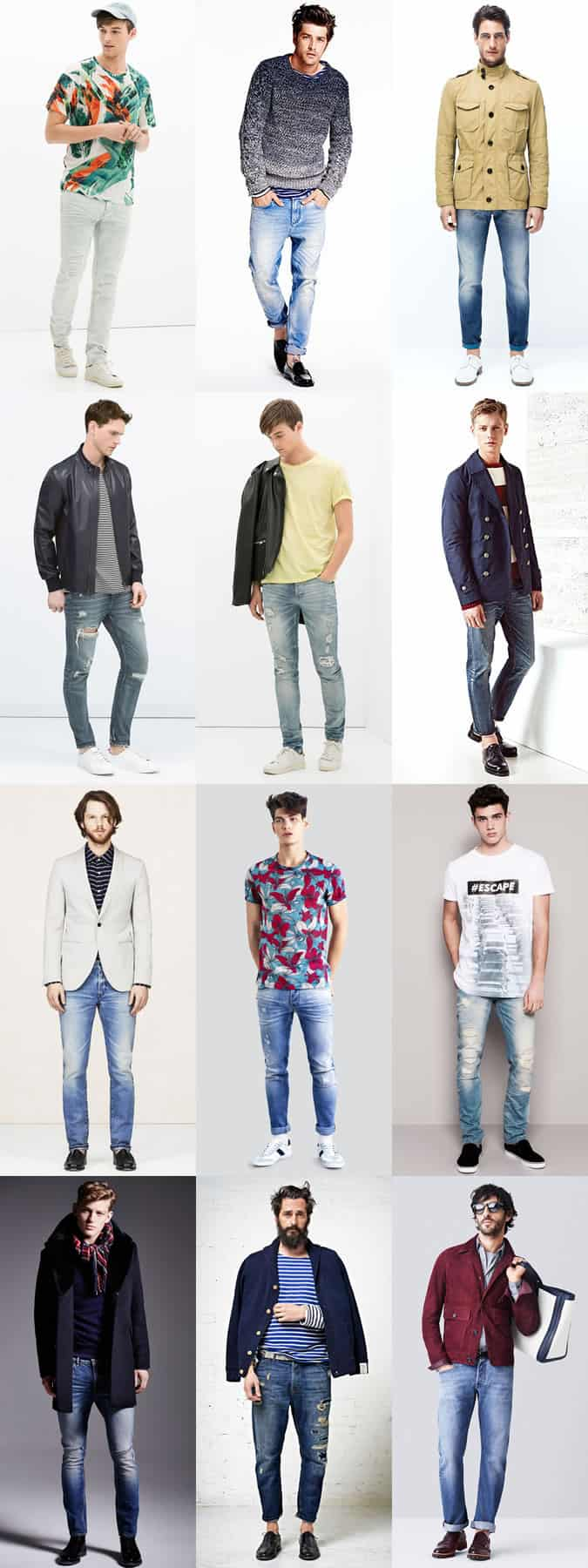 Men's Faded, Distressed, Ripped and Light Wash Jeans - Spring/Summer Outfit Inspiration Lookbook