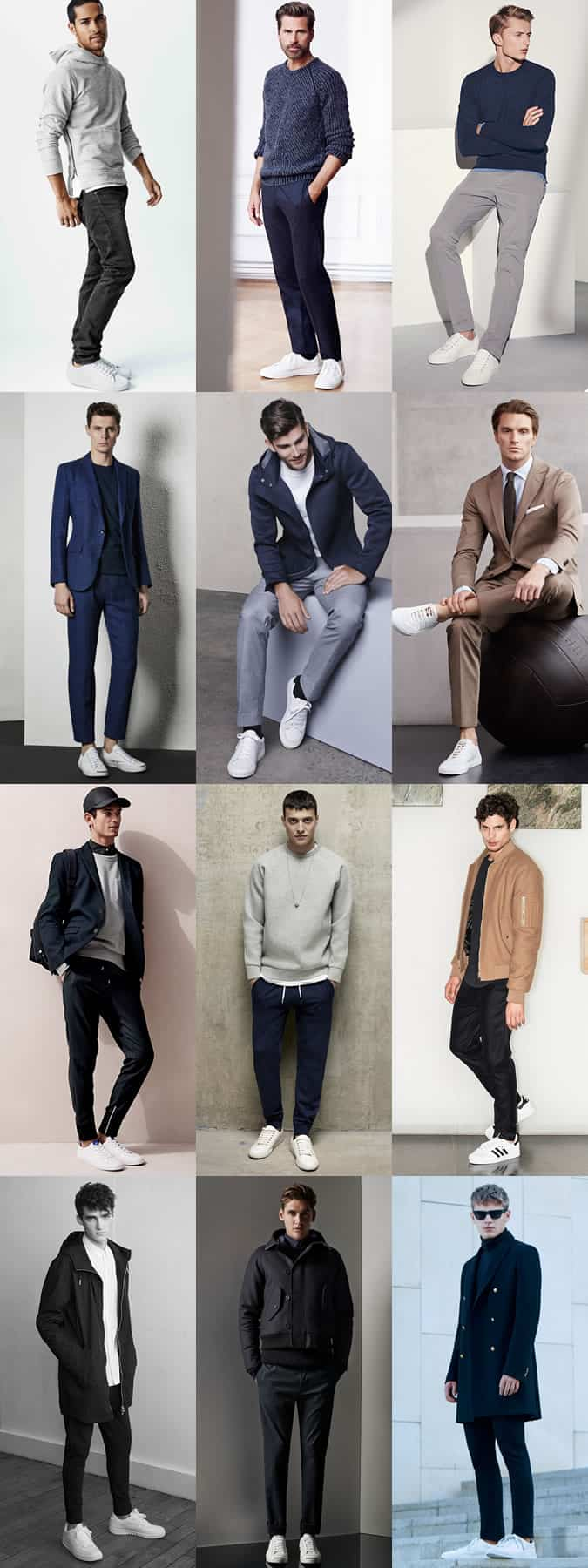 Men's Neutral Outfits With White Trainers Lookbook Inspiration
