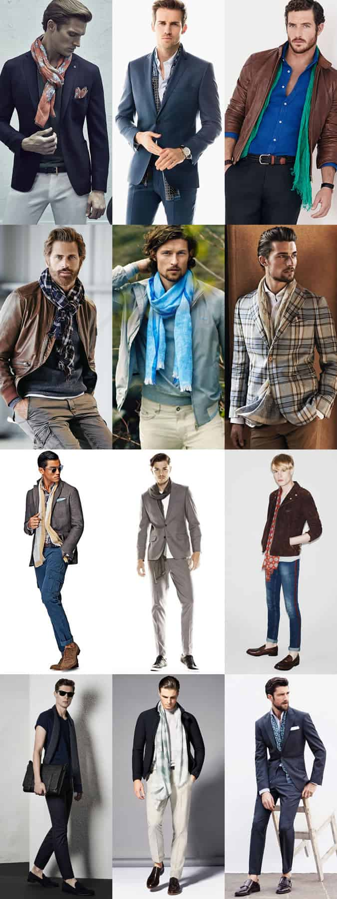 Men's Lightweight Scarves Outfit Inspiration Lookbook: Spring/Summer 2015