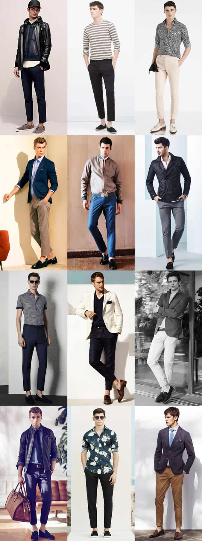 Men's Cropped Trousers - Sockless Outfit Inspiration Lookbook